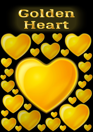 Valentine Holiday Background with Big and Small Shining Golden Hearts, Love Symbols on Black Background Illustration