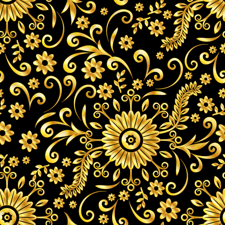 Abstract Seamless Background With Symbolical Gold Floral Patterns Enchanting Floral Patterns
