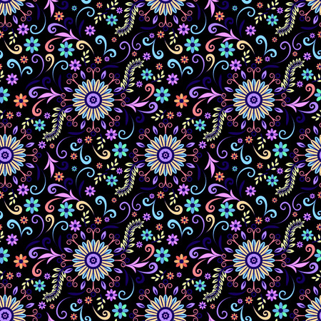 abloom: Abstract Seamless Background with Symbolical Colorful Patterns and Floral Ornaments. Illustration