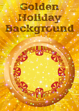 Holiday  with Round Porthole Window on Golden Wall with Gift Color Boxes, Sparks, Confetti and Place for Text. Eps10, Contains Transparencies. Vector