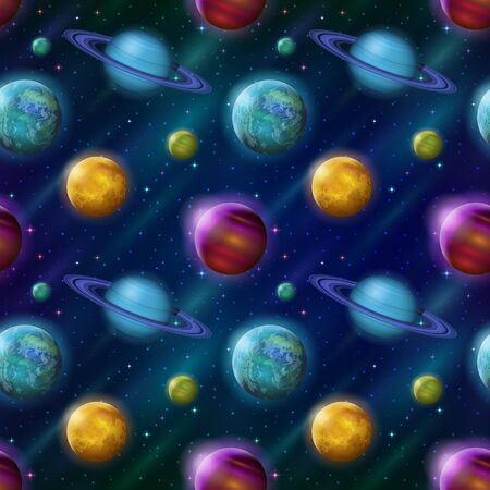 Space Seamless Background with Various Fantastic Planets and Moons. Tile Pattern for Your Web Design.