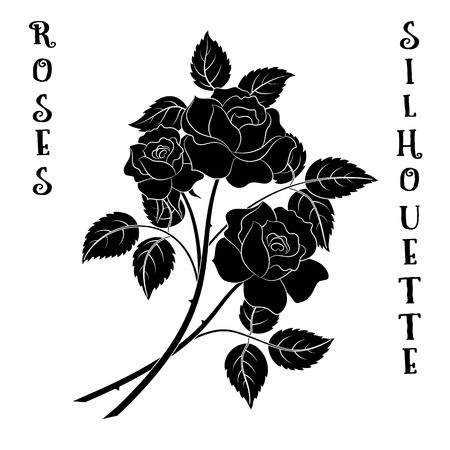 abloom: Roses Bouquet, Three Black Flowers Silhouette on White Background, Floral Gift, Symbolic Pictogram for Your Design. Illustration