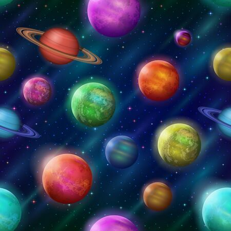 saturn rings: Space Seamless Background with Various Fantastic Planets and Moons. Tile Pattern for Your Web Design.