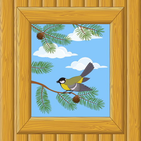 flit: Background with Wooden Wall and Window with View of Blue Sky, Clouds, Pine Branches and Bird Titmouse.