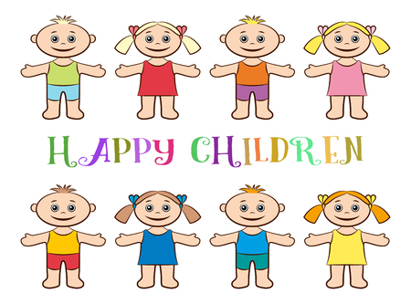 tot: Cartoon People, Set of Happy Children, Funny Little Boys and Girls in Colorful Clothes, Standing with Arms Wide Open and Smiling, Isolated on White Background.