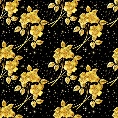 abloom: Seamless Floral Background, Golden Shiny Flowers Roses on Black Background.