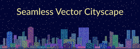 star sky: Horizontal Seamless Landscape, Urban Background, Night City with Skyscrapers against Starry Sky.