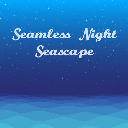 Horizontal Seamless Landscape, Night Seascape, Silent Sea and Dark Blue Sky with Stars, Nature Background for Your Design. Illustration
