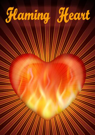 Shining Fire Valentine Heart, Flaming Love Symbol with Red and Yellow Radial Rays. Eps10, Contains Transparencies. Vector
