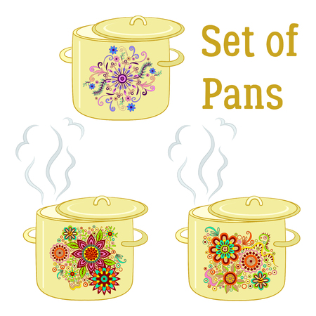 to boiling: Set of Boiling Pans with Floral Patterns, Cover and Steam, Element for Your Design. Vector