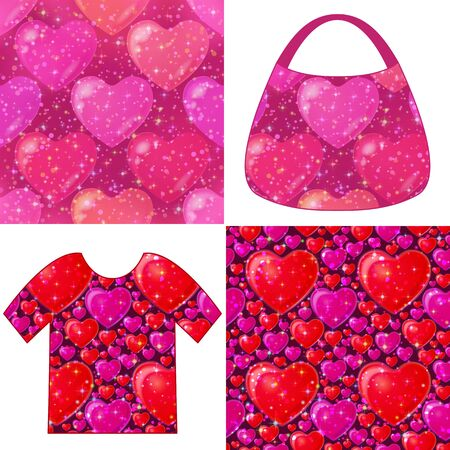 Set of Valentine Holiday Seamless Backgrounds, Colorful Tile Patterns with Hearts, Sparks, Confetti and Examples in Form of Shirt and Ladies Handbag. Eps10, Contains Transparencies. Vector Illustration