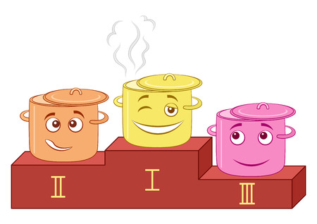 competitions: Cartoon Smileys, Kitchen Pans Standing on Sports Pedestal, Taking Prizes at The Cooking Competition. Vector