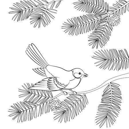 Titmouse del pájaro que se sienta en la ramificación de árbol de pino con las agujas y los conos, contorno negro aislado en el fondo blanco. Vector Ilustración de vector
