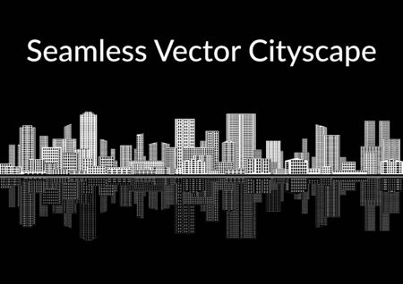 Horizontal Seamless Landscape Urban Background, Abstract Black and White City with Skyscrapers, Reflecting in the Sea.