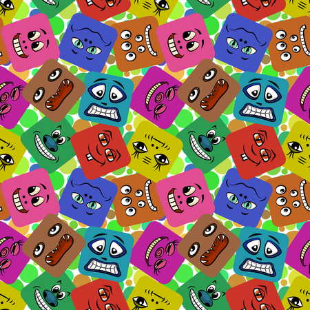 choleric: Seamless Background with Smileys, Monsters, Funny Cartoon Characters, Different Faces in Colorful Squares, Tile Pattern for Your Design. Vector