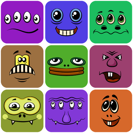 choleric: Set of Smileys, Monsters, Funny Cartoon Characters, Different Faces in Colorful Squares, Elements for Your Design, Prints and Banners, Isolated on White Background. Vector.