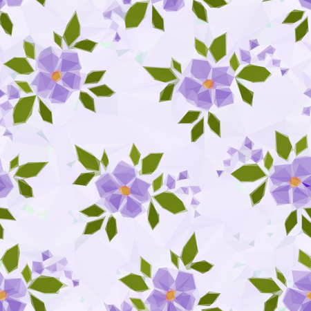 abloom: Background with Symbolical Color Flowers, Low Poly Floral Pattern. Vector