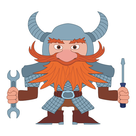 Dwarf, Redhead Repairman in Armor and Helmet Standing with Screwdriver and Wrench in His Hands, Funny Comic Cartoon Character. Vector