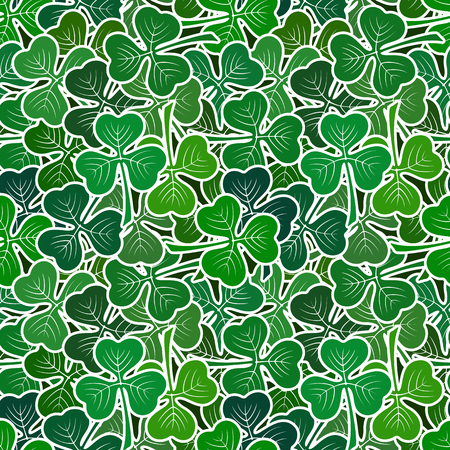 trifolium: Seamless background with clover leaves, tile pattern with green pictogram plants. Illustration