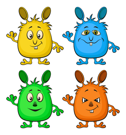 Set of Funny Colorful Cartoon Characters, Different Monsters Illustration