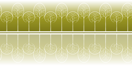 coppice: Horizontal Seamless Background with Summer Landscape, Contour Pictogram Forest Trees, Tile Pattern for your Design. Vector Illustration