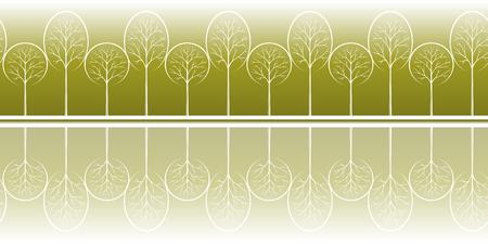 Horizontal Seamless Background with Summer Landscape, Contour Pictogram Forest Trees, Tile Pattern for your Design. Vector Illusztráció