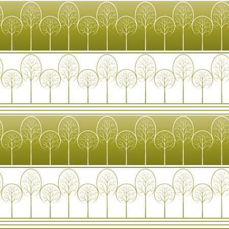 Seamless Striped Background with Summer Landscape, Contour Pictogram Forest Trees, Tile Pattern for your Design. Vector