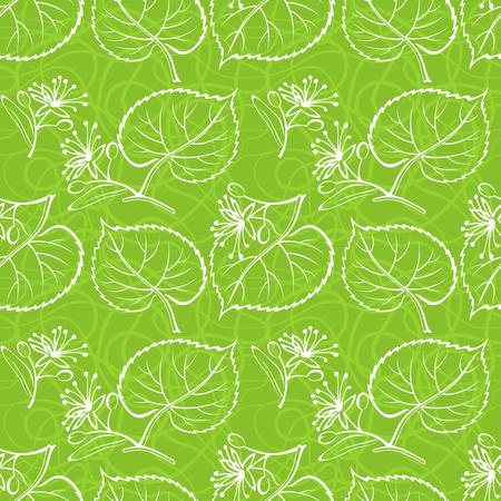 Fondo transparente con el pictograma blanco Hojas de árbol de tilo, azulejo Verde patrón de la naturaleza. Vector