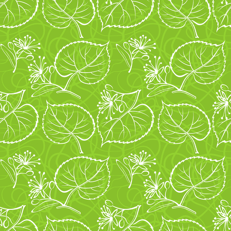 Seamless Background with White Pictogram Leaves of Linden Tree, tile Green Nature Pattern. Vector