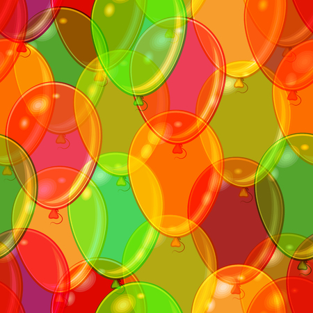 Seamless Holiday Pattern, Tile Background with Beautiful Flying Colorful Balloons.  Contains Transparencies. Vector