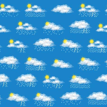 Meteorology Seamless Background, Illustrating Various Natural Weather Phenomena, Cloudy, Rain, Storm.