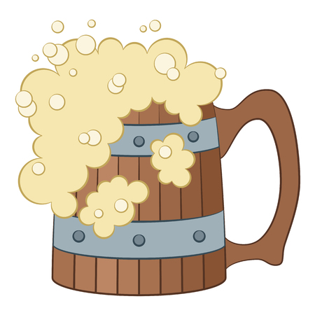Big Wooden Beer Mug with Alcohol Drink and Foam, Cartoon Element for Your Design, Isolated on White Background. Vector