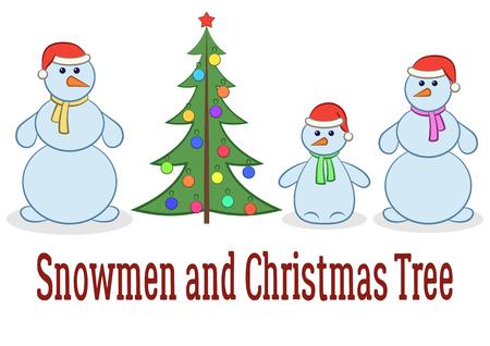newyear: Set of Cartoon Snowmen at Isolated on White Background. Vector Illustration