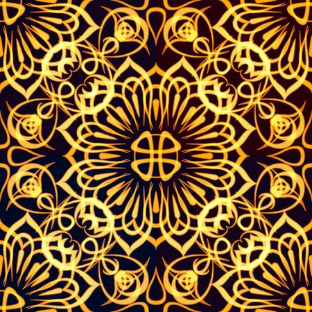 Abstract Seamless Golden Background with Symbolical Tile Floral Patterns. Eps10, Contains Transparencies. Vector Illustration
