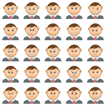 Conjunto de ronda Funny Smilies o avatares, personajes de dibujos animados en trajes de negocios y lazos, Emoticons Simbolizando diversas emociones humanas y humores, aisladas sobre fondo blanco. Vector