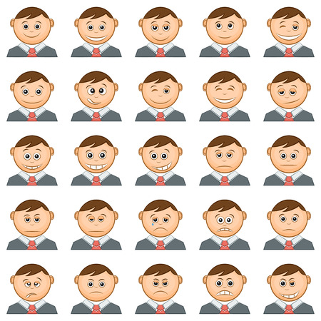 choleric: Set of Funny Round Smilies or Avatars, Cartoon Characters in Business Suits and Ties, Emoticons Symbolizing Various Human Emotions and Moods, Isolated on White Background. Vector