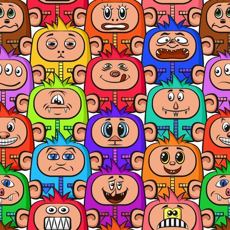 crowd happy people: Seamless Background for your Design with Different Cartoon Monsters, Colorful Tile Pattern with Cute Funny Characters. Vector