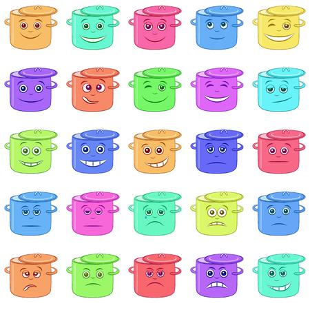 Conjunto de grapas divertidas Smilies, personajes de dibujos animados que simbolizan diversas emociones y humores humanos, aisladas sobre fondo blanco. Vector Ilustración de vector