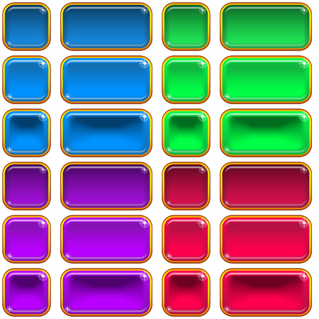 Set of Glass Buttons, Square and Rectangle, in Various States, Normal, Illuminated, Clicked. Computer Icons Elements for Web Design, Isolated on White. Eps10, Contains Transparencies. Vector Illustration