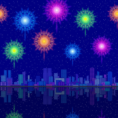 Horizontal Seamless Landscape, Holiday Urban Tile Background, Night City with Skyscrapers and Fireworks in Starry Sky, Reflecting in Blue Sea. Eps10, Contains Transparencies. Vector