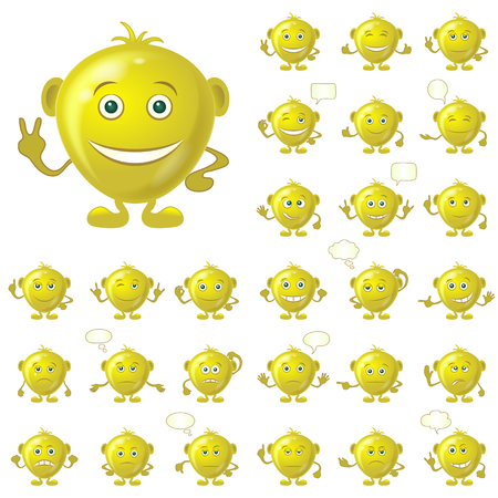choleric: Set of Golden Smileys with Hands and Feet, Symbolising Various Human Emotions, Isolated on White Background. Eps10, Contains Transparencies. Vector