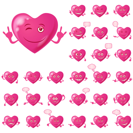choleric: Set of Valentine Hearts Smileys, Love Signs, Symbolizing Various Emotions. Eps10, Contains Transparencies. Vector