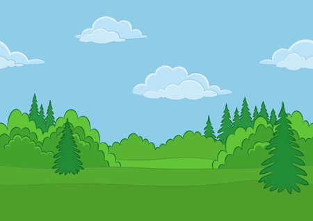 conifer: Horizontal Seamless Background Landscape, Summer Forest with Green Grass, Blue Sky and Clouds. Vector Illustration