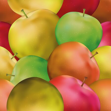 Fruit Seamless Background with Green, Yellow and Red Apples, Tile Pattern for Your Design. Eps10, Contains Transparencies. Vector Illustration