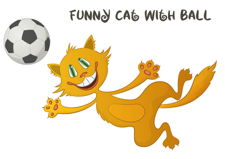 Cartoon Red Cat, Funny Pet, Smiling and Jumping for a Soccer Ball, Isolated on White Background. Vector