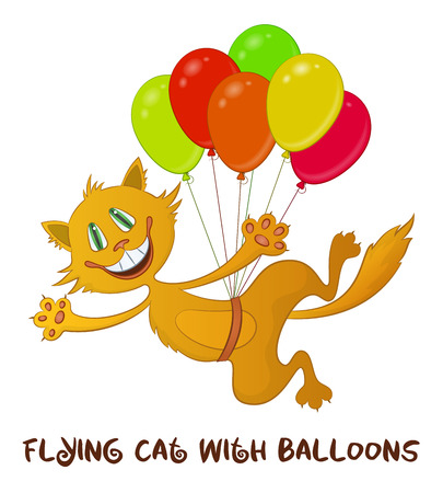 animal pussy: Cartoon Red Cat, Funny Pet, Smiling and Flying with Bundle of Colorful Balloons, Isolated on White Background. Vector