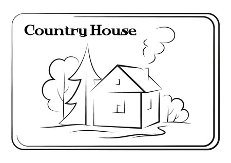 Landscape, Country House with Trees and Smoke Coming from Pipe, Black Contour Pictogram Isolated on White Background. Vector