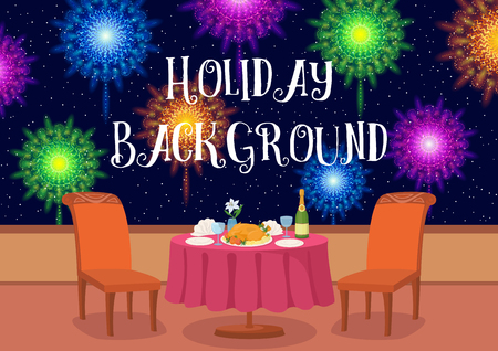champagne celebration: Restaurant in Open Air with Table and Festive Food Under Night Sky with Colorful Holiday Fireworks, Cartoon Background Illustration for Your Design. Eps10, Contains Transparencies. Vector