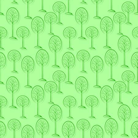Woodland Landscape, Forest, Trees Pictograms, Green Tile Pattern for Your Design.