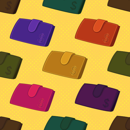 Seamless Background with Colorful Wallets with Dollar Sign, Various Leather Purses for Money, On Tile Yellow Pattern.